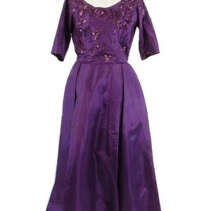 Purple silk ball gown vintage dress S
